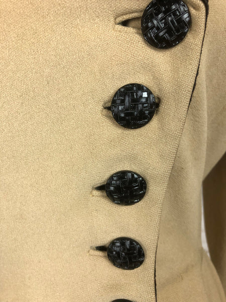 Original Late 1930s Early 1940s Cream Wool Double Breasted Princess Cut Coat With Black Velvet Collar And Cuffs