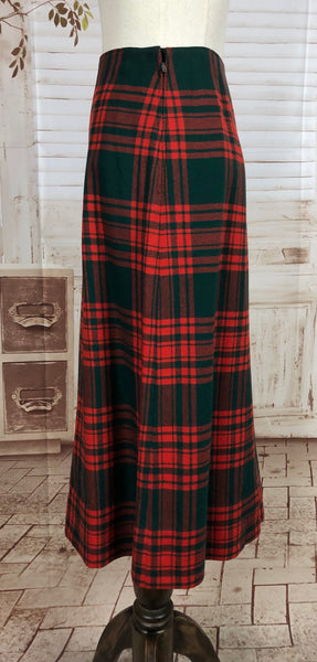 Original 1940s 40s Vintage Red And Forest Green Tartan Plaid Skirt And Waistcoat Suit