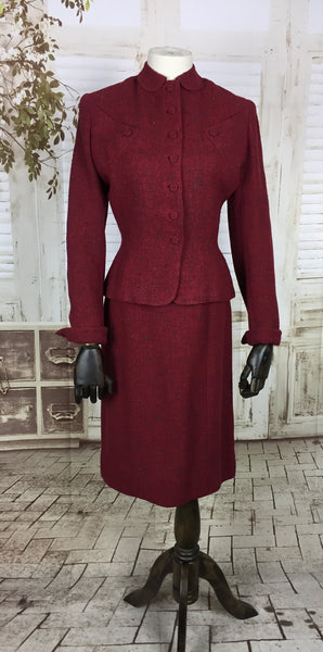Original 1940s 40s Vintage Red And Emerald Green Fleck Wool Skirt Suit