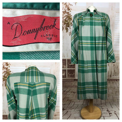 Original 1940s 40s Vintage Wool Swing Coat With Green Plaid By Donnybrook