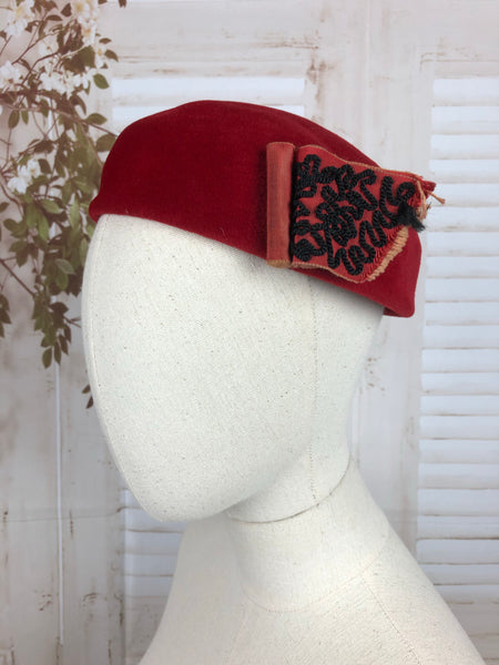 Red 1940s 40s Cap Hat With Soutache Scroll