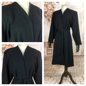 Incredible Original 1940s 40s Vintage Black Belted Coat With Trapunto Detailing