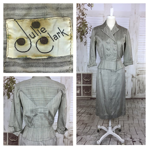 Original 1940s Vintage Grey Rayon Double Breasted And Belted Skirt Suit Petite