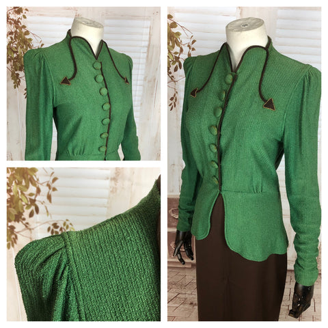 Original 1930s 30s Vintage Green Knit Jacket With Brown Arrows