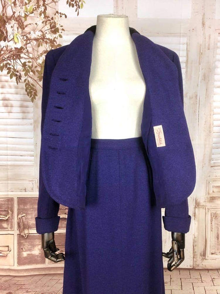 Original 1940s 40s Vintage Royal Purple Suit With Velvet Collar By Garfinckel