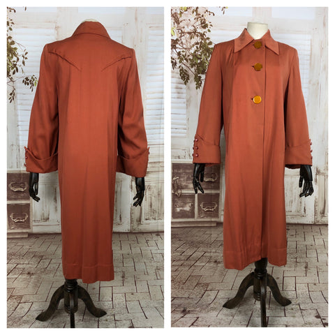 LAYAWAY PAYMENT 2 OF 2 - RESERVED FOR BRIANA - Original 1940s 40s Vintage Pumpkin Orange Gabardine Swing Coat