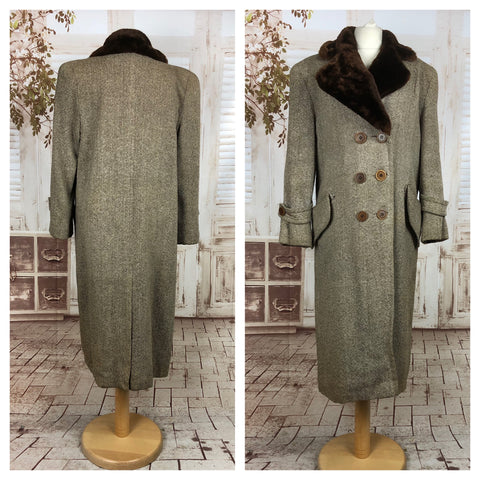 Original Vintage Late 1940s 40s Tweed Storm Coat With Faux Fur Collar