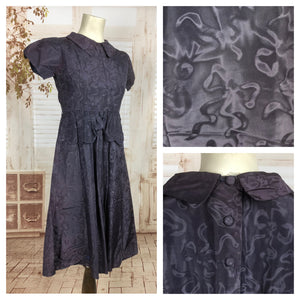 Original Vintage Late 1930s 30s Early 1940s 40s Purple Moire Bow Puff Sleeve Dress