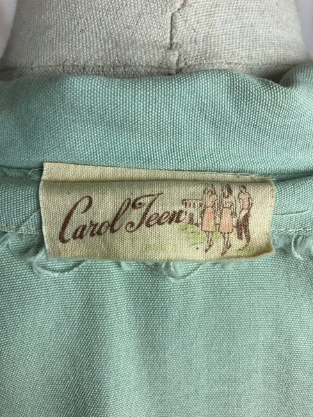 Original 1940s 40s Vintage Mint Green Embroidered Blouse