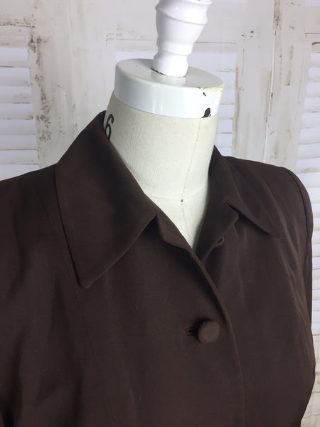 Original 1940s Brown Vintage Gabardine Forstmann Wool Jacket By Adele California