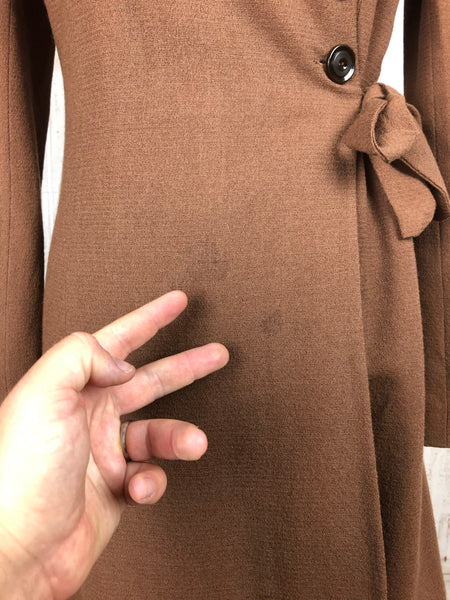 Original 1930s 30s Vintage Chocolate Brown Asymmetric Wool Coat With Fur Collar