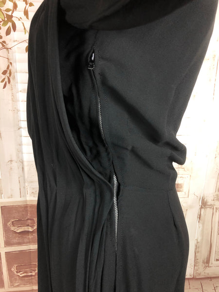 Original 1940s 40s Vintage Black Draped Crepe Evening Dress