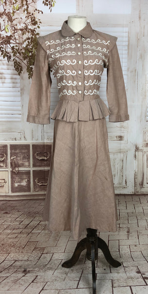 Original 1940s 40s Vintage New Look Style Sandy Cotton Suit With Wave Soutache Bodice Decoration