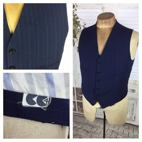 Original 1940s Blue Pin Stripe Waistcoat Vest With CC41 Utility Labels