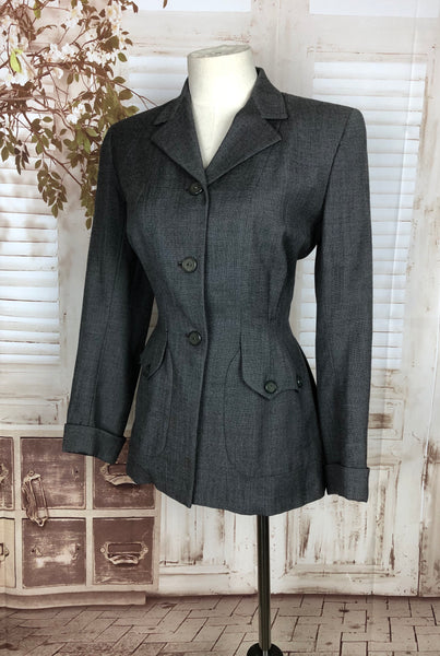 Original 1940s 40s Grey Wool Suit Jacket With Gorgeous Pockets