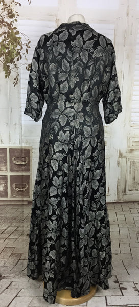 Original 1950s 50s Black Satin Evening Dress Hostess Gown With Lurex Silver Embroidered Leaves By Harvey Nichols