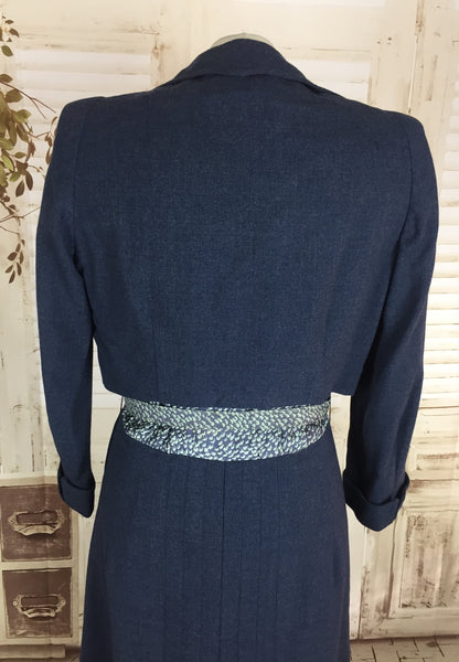 LAYAWAY PAYMENT 2 OF 2 - RESERVED FOR KAREN - PLEASE DO NOT PURCHASE - Original 1940s 40s Vintage Navy Airforce Blue Wool And Rayon Dress With Cropped Jacket Suit