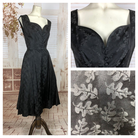 Original 1950s 50s Vintage Black Cocktail Dress With Oak Leaf Pattern
