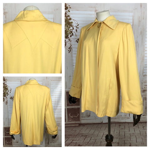 LAYAWAY PAYMENT 1 OF 2 - RESERVED FOR KELLY - Original 1940s 40s Vintage Gabardine Gab Canary Yellow Swing Coat