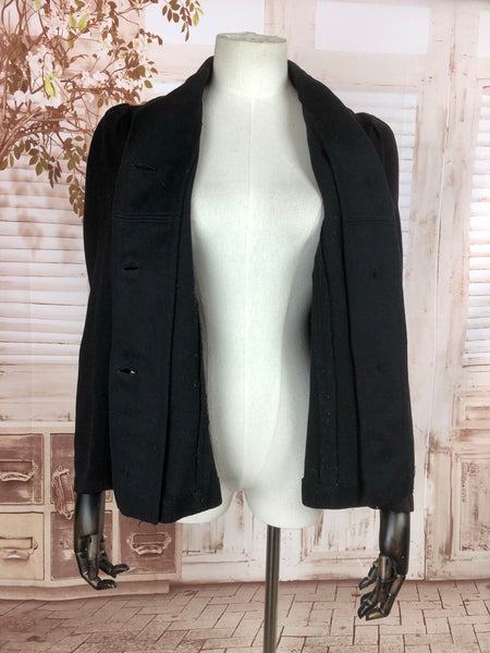 Original Antique Victorian 1890s Black Wool Riding Jacket With Puff Sleeves