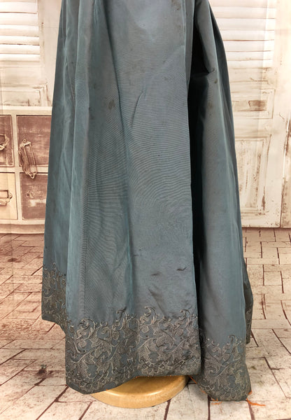 Original Victorian 1800s Antique Slate Blue Faille Bustle Back Skirt With Embroidered Hem