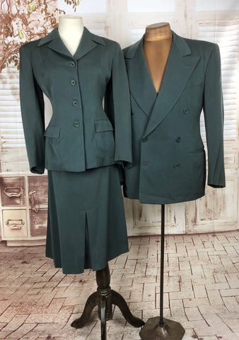 Original Early 1950s 50s Vintage Teal Gabardine His And Hers Skirt Suit And Matching Blazer