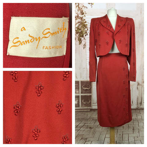 LAYAWAY PAYMENT 1 of 2 - RESERVED FOR SYLVETTE - Incredible Original Vintage 1940s 40s Red Cropped Wrap Suit With Grape Decoration