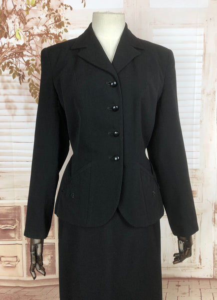 Original 1940s 40s Vintage Black Suit With Fabulous Arrow Details