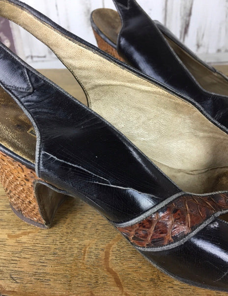 Original 1930s Vintage Black Patent Leather And Brown Reptile High Heel Shoes