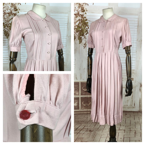 RESERVED FOR SENDI - PLEASE DO NOT PURCHASE - Original 1940s 40s Vintage Pastel Pink Day Dress With Fabulous Pleating