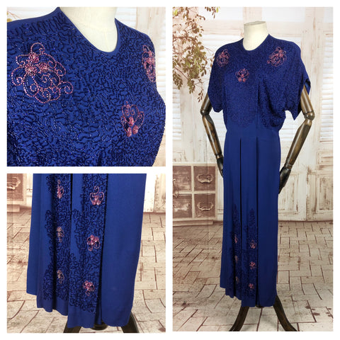 Original 1940s 40s Vintage Purple Crepe Gown With Incredible Two Colour Beading