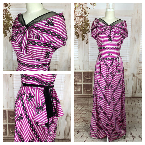 Original 1940s 40s Pink And White Stripe Rayon Dress With Back Bow And Bustle in Schiaparelli Style