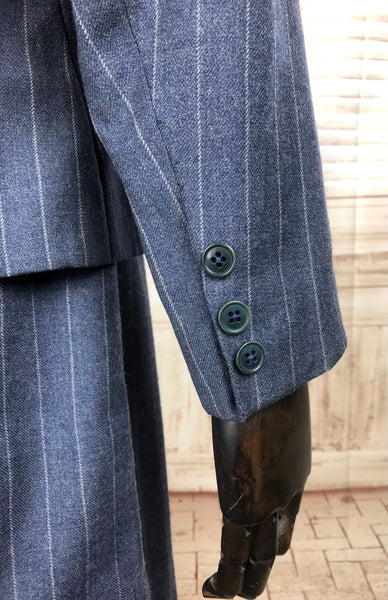 Original 1930s 30s Vintage Blue Pinstripe Wool Suit