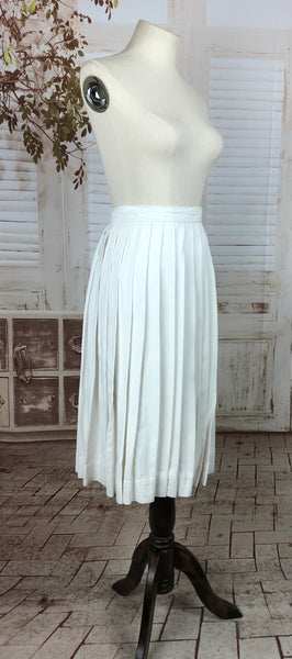 Original 1950s 50s Vintage White Cotton Sun Ray Pleated Skirt
