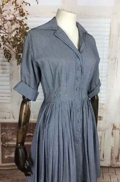 Original 1940s 40s Vintage Navy Blue And White Gingham Check Cotton Day Dress With Peplum