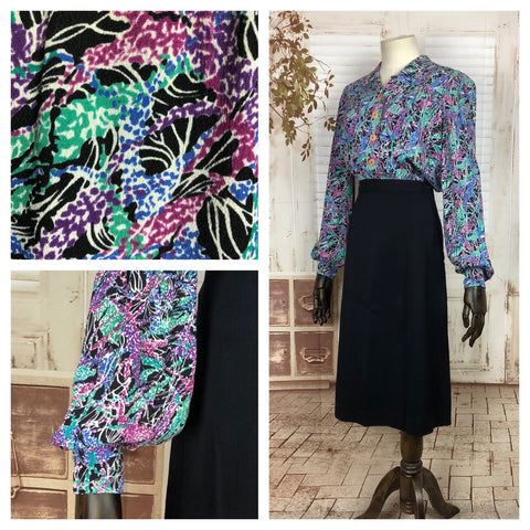Original 1940s 40s Vintage Printed Crepe Blouse With Bishop Sleeves