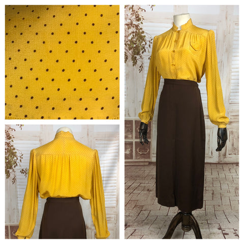 Original 1930s 30s Vintage Mustard Yellow Bishop Sleeve Blouse With Gathered Puff Shoulders