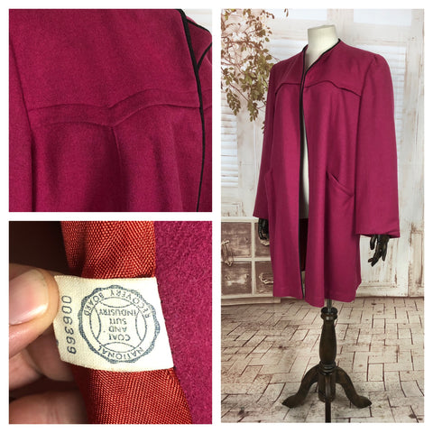 Original 1940s 40s Volup Vintage Fuchsia Pink Clutch Coat With Piping Details