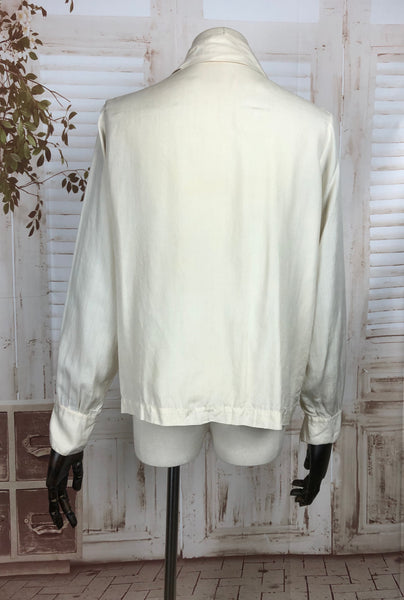 Original 1940s 40s Vintage Cream Silk Blouse With Pin Tucks