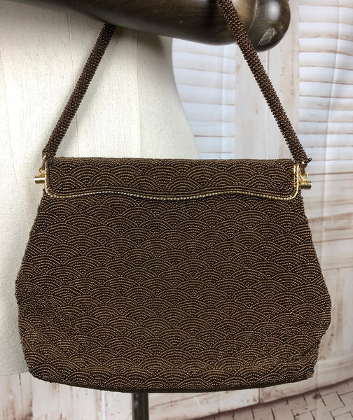 Bronze Brown Beaded 1950s 50s Handbag