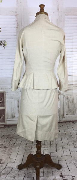 Original 1940s 40s Vintage Petite Cream Linen Summer Skirt Suit With Origami Hip Detail By Sara Simon