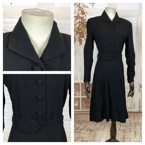 Classic Original Vintage 1940s 40s Black Wool Dress With Belted Waist