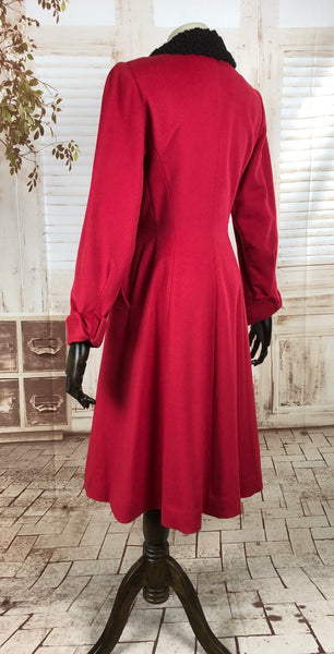 Original 1940s 40s Vintage Red Princess Coat With Astrakhan Collar By Carl New York