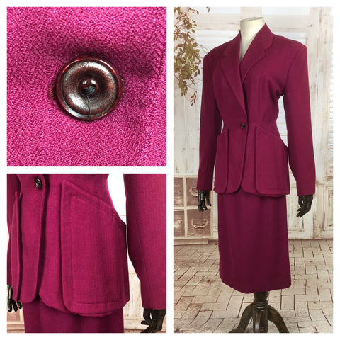 Original 1940s 40s Vintage Fuchsia Pink Skirt Suit With Huge Patch Pockets