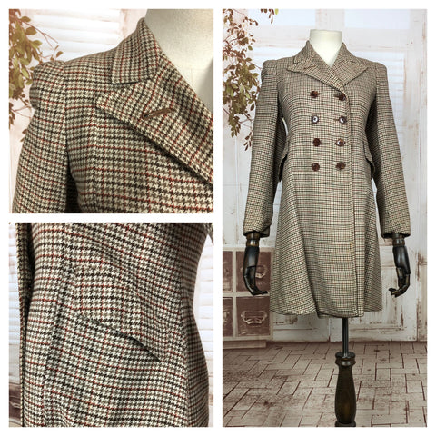 Original 1940s 40s Petite Vintage Brown Double Breasted Houndstooth Wool Coat
