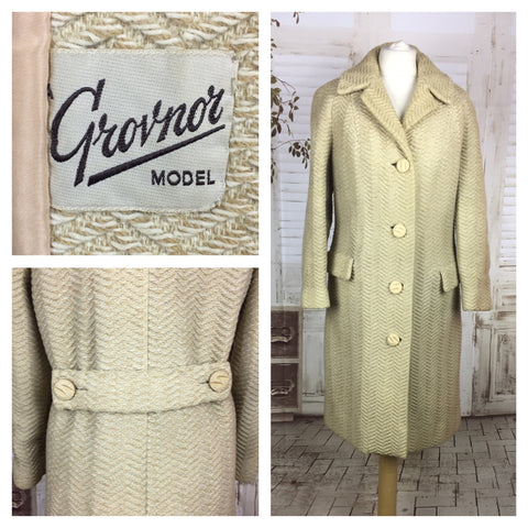 Original 1950s 50s Ivory Cream Herringbone Wool Coat By Grovnor Model