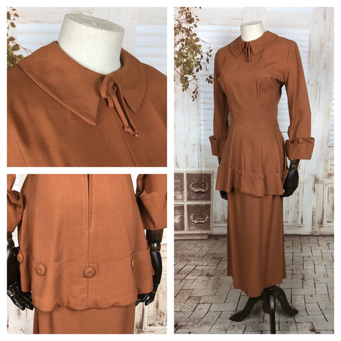 Original 1940s 40s Vintage Rust Putty Coloured Gabardine Skirt Suit