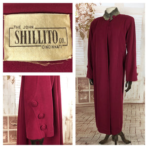 Original Vintage 1940s 40s Volup Fuchsia Pink Swing Coat With Button Details By Shillito Co
