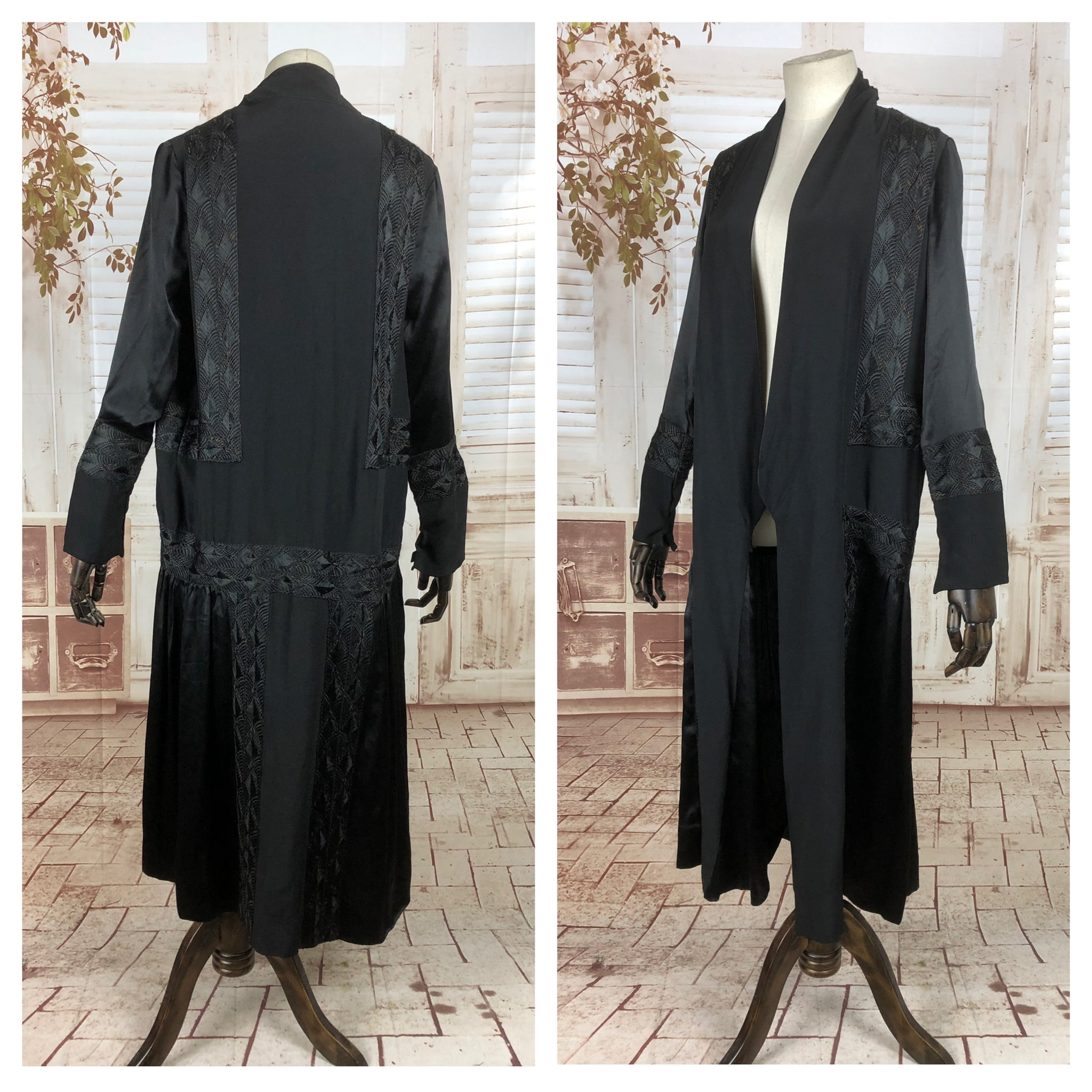 Original 1920s 20s Vintage Art Deco Black Braid Work Flapper Coat