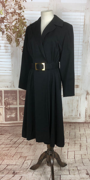 Original 1940s 40s Black Gab Gabardine Belted Princess Coat